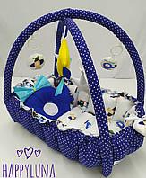 """Детский игровой развивающий коврик - Кокон гнездышко для новорожденного 2 в 1 """" Самолетики """""""