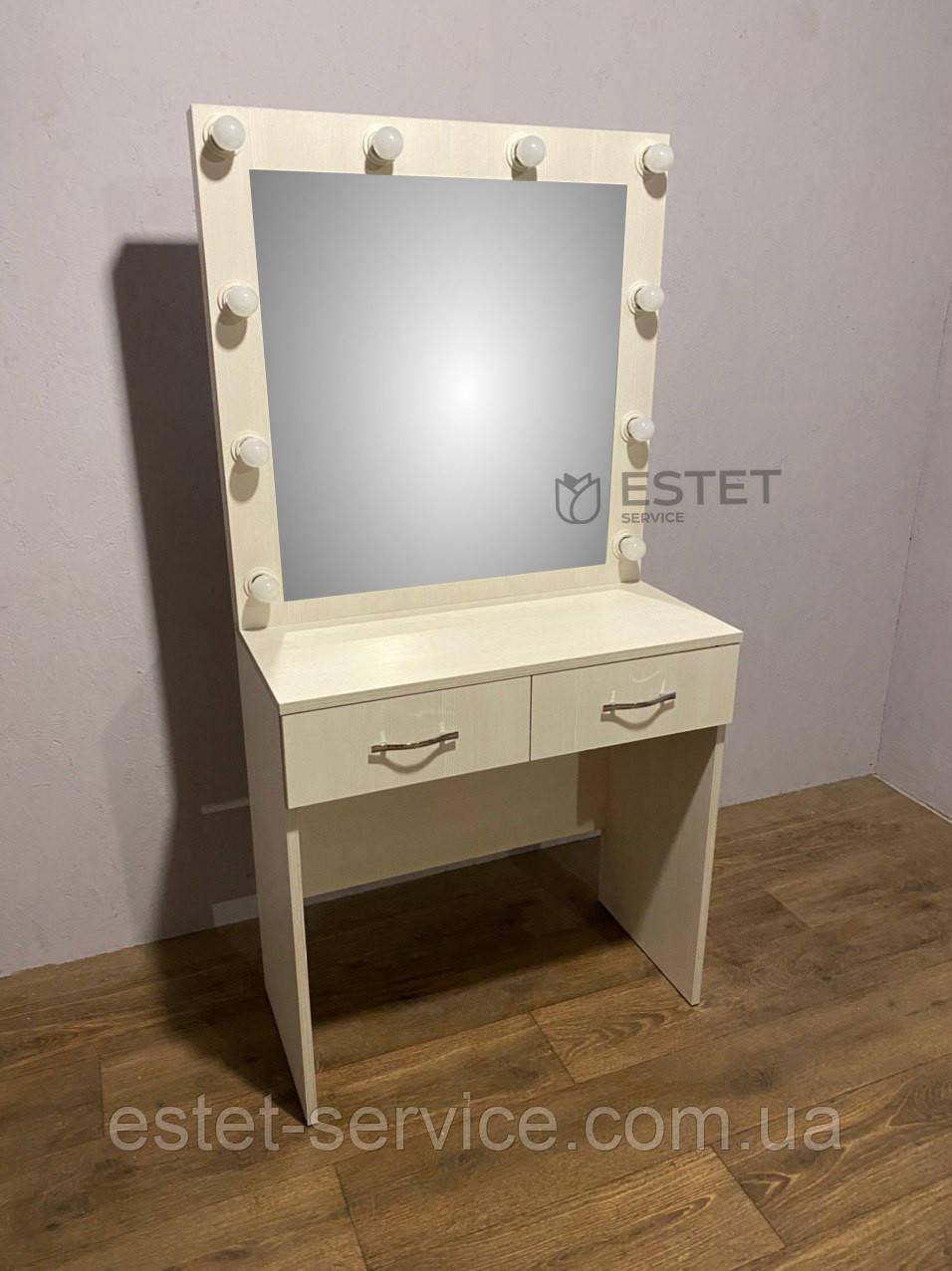 Визажный стол М612 с подсветкой вокруг зеркала на два ящика