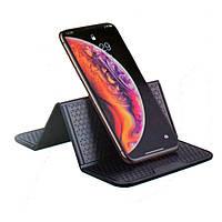 Многофункциональный коврик-липучка на торпеду для крепления аксессуаров и мобильного телефона Черный (MKB-100)