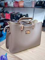 """Женская сумка, качественная """"FASHION"""", бежевая,  3 отделения, 0506-32"""