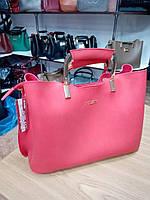 """Женская сумка, качественная """"FASHION"""", красная,  3 отделения, 0506-33"""