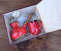 Подарочный кофейный набор Красный турка иероглиф с чашкой 250 мл деревянном ящике