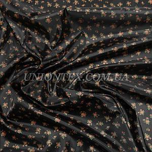 Подкладочная ткань нейлон 210Т принт мелкие цветы на черном