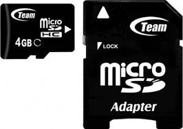 Карта памяти MicroSDHC 4GB Class 4 Team + Adapter SD (TUSDH4GCL403)