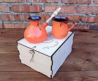 Подарочный кофейный набор Оранжевый турка иероглиф с чашкой 250 мл деревянном ящике
