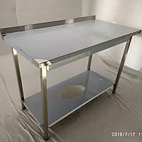 Стол производственный из нержавеющей стали (с полкой и бортом) 600х600х850