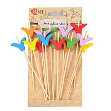 """Набір шпажок декоративних Santi з декором """"Тюльпан"""", древесина, 12 см, 15 шт./уп."""