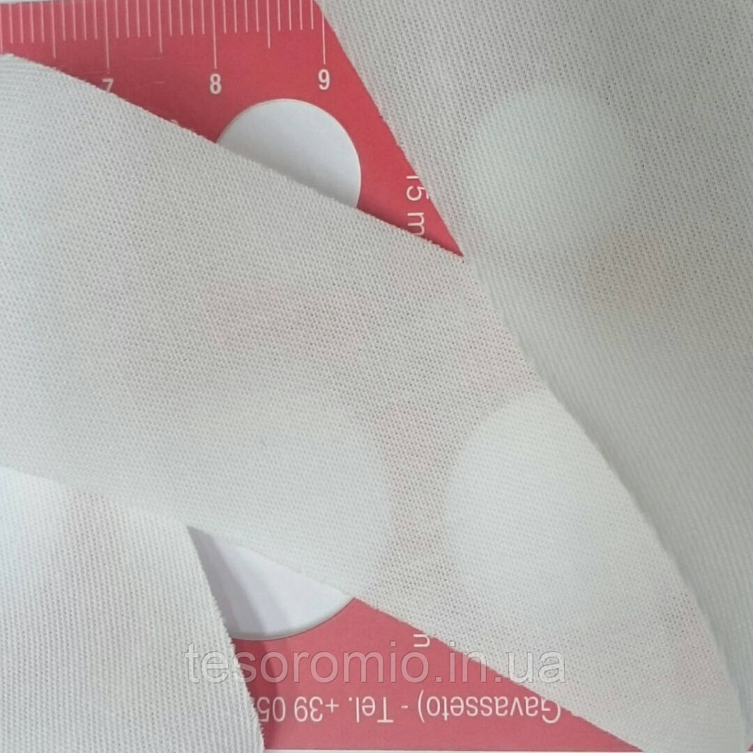 Косая бейка хлопковая незаутюженная, 32 мм, светло-молочная
