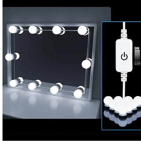 LED лампочки для гримерного зеркала 12шт с адаптером HOLLYWOOD DIY VANITY ADJUSTABLE LIGHT KIT, фото 2