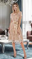 Бежевое коктейльное кружевное платье (S, M, L)