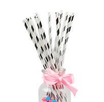 Бумажные трубочки для напитков Серебряная полоса, 25 шт/уп