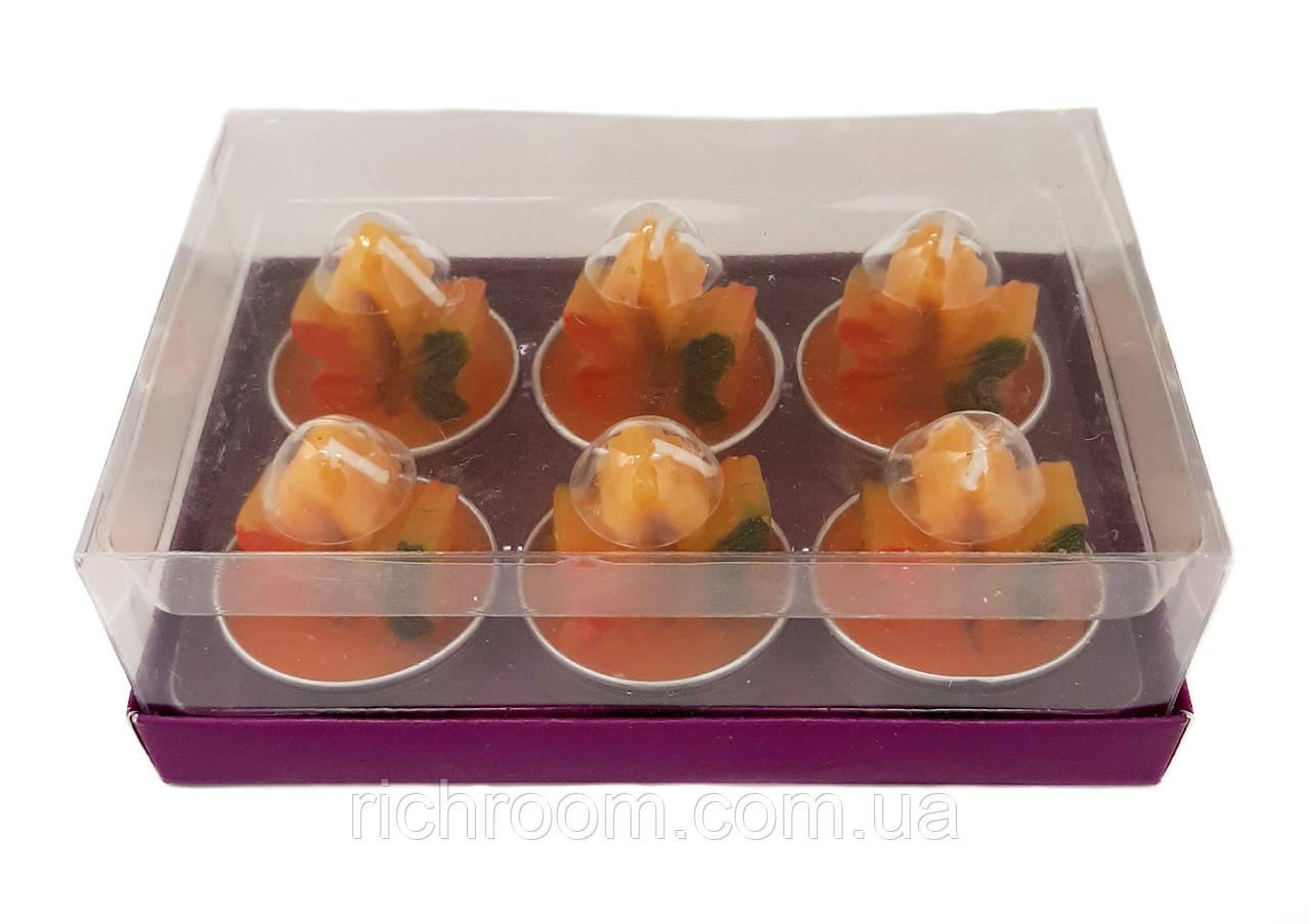F1-00667, Свеча декоративная чайная Осенний лист Melinera, набор 6 шт., , оранжевый
