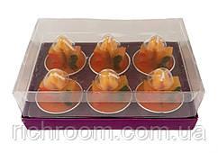 F1-00667, Свічка декоративна чайна Осінній лист Melinera, набір 6 шт., , помаранчевий