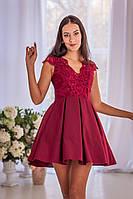 Короткое коктейльное кружевное платье на выпускной вечер (S, M)