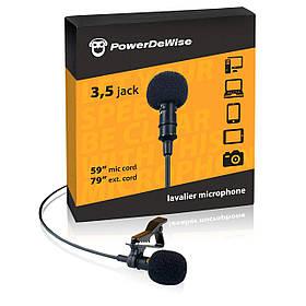Петличный микрофон PowerDeWise 3.5 мм для записи голоса на телефоне + шнур 2 м Черный (pdw1)