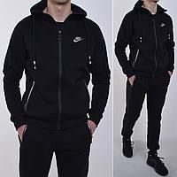 Утепленный мужской спортивный костюм Nike с капюшоном / трикотаж трехнитка / Размеры: 46,48,50,52 - черный