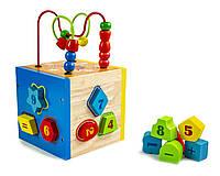 Деревянная развивающая игрушка-сортер Цифры+лабиринт (MMM608)