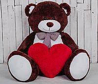 Большая мягкая игрушка мишка с сердцем Yarokuz Билли 150 см Шоколадный (YK-0053)