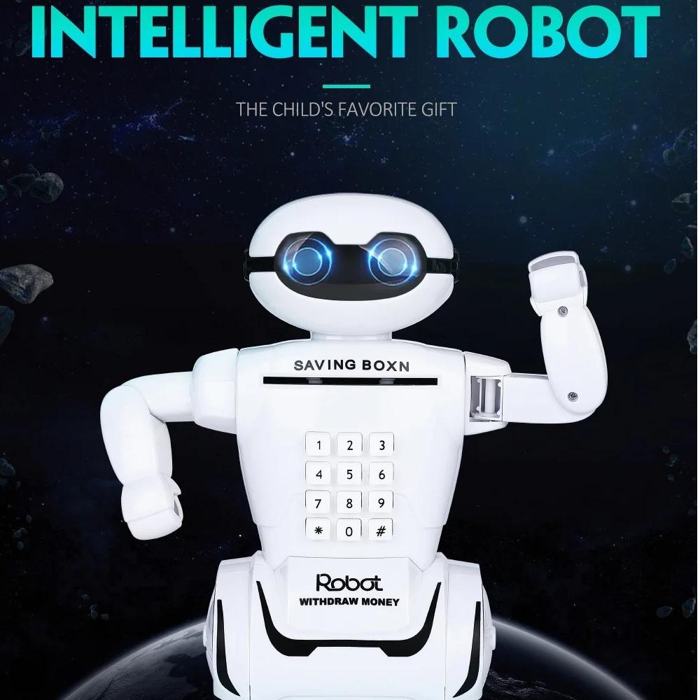 Электронная Копилка сейф Robot PIGGY BANK с кодовым замком, фонарем и музыкой