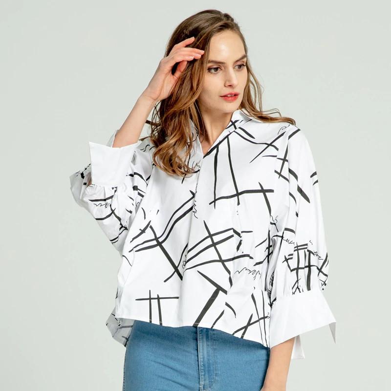 Слегка укороченная женская рубашка 44-50 (в расцветках)
