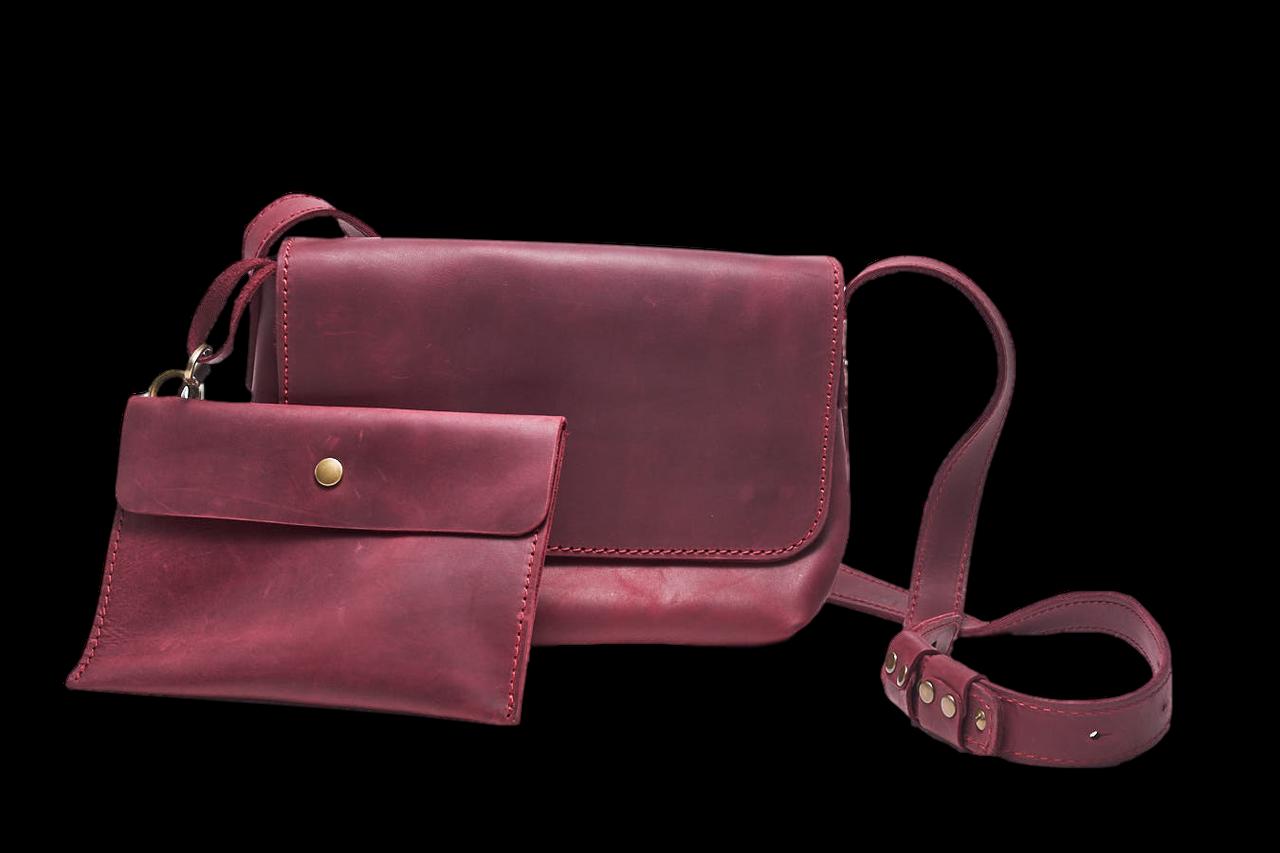 Кожаная сумка кросс-боди Cross женская бордовая