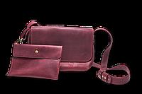 Кожаная сумка кросс-боди «Cross Marsala» женская бордовая (25x19 см) с косметичкой ручной работы от pan Krepko