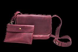 Шкіряна сумка крос-боді «Cross Marsala» жіноча бордова (25x19 см) з косметичкою ручної роботи