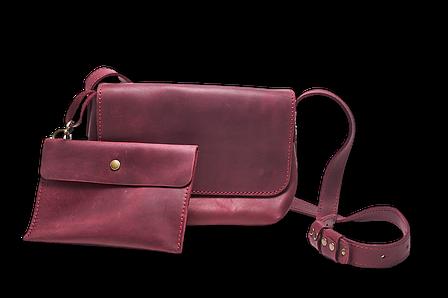 Шкіряна сумка крос-боді «Cross Marsala» жіноча бордова (25x19 см) з косметичкою ручної роботи, фото 2
