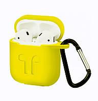 Чехол Silicone Case 2in1 ( + карабин) к наушникам Apple AirPods Yellow