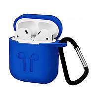 Чехол Silicone Case 2in1 ( + карабин) к наушникам Apple AirPods Blue