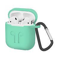 Чехол Silicone Case 2in1 ( + карабин) к наушникам Apple AirPods Mint