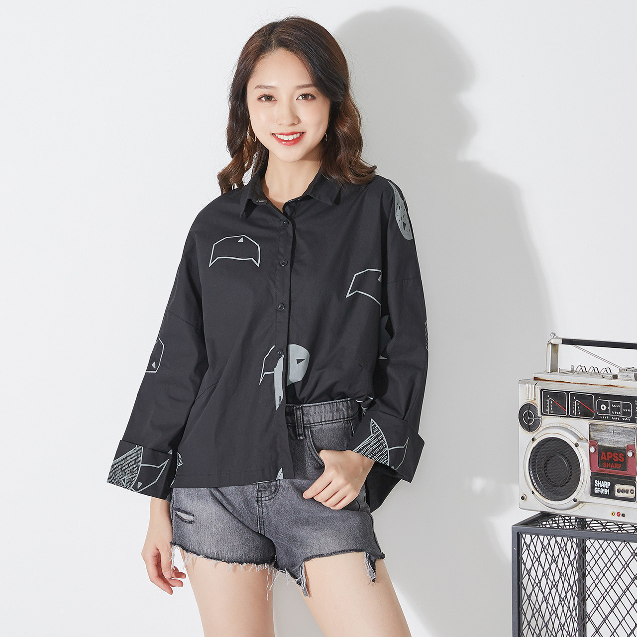 Хлопковая женская рубашка стильная 44-50 (в расцветках)