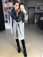 """Жіноча зимове вовняне пальто """"Катрін"""" з хутром, розмір: 42,44,46,48,50, сірий, графіт, чорний), фото 1"""