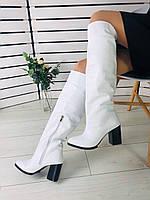 Сапоги женские белые из натуральной кожи на устойчивом каблуке, фото 1