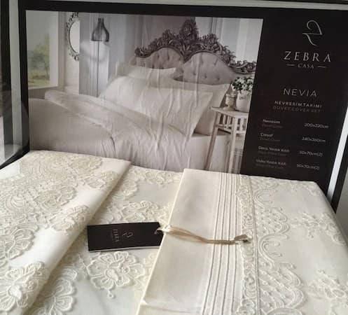 Постельное белье Zebra Casa Nevia двуспальный - евро, кремовый, фото 2