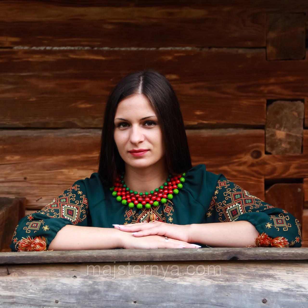 """Вишиванка жіноча """"Талісман"""" на зеленому шифоні, 3/4 рукав"""
