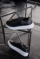 Мужские кроссовки Alexander McQueen (реплика), черные (s101)