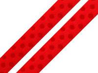 Лента шелковая в горошек красная 10мм, фото 1