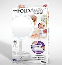 Настольное круглое косметическое зеркало с LED подсветкой My Fold Away, фото 3