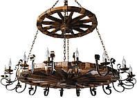 Люстра из дерева Колесо - Телеги Ярусная 18 ламп Старая Бронза, Дерево Состаренное темное с веревками