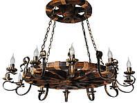 Люстра из дерева Колесо - Телеги Ярусное 12 ламп Старая Бронза, Дерево Состаренное темное