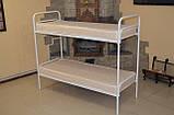 Кровать металлическая двухъярусная облагороженная ЛДСП для студентов, фото 2