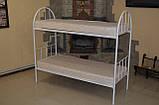 Кровать металлическая двухъярусная облагороженная ЛДСП для студентов, фото 4