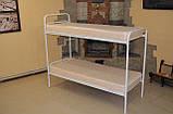 Кровать металлическая двухъярусная облагороженная ЛДСП для студентов, фото 5