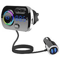 ФМ трансмиттер Santonic A49 Car MP3 Player Bluetooth 5.0 QC 3.0 Black + Silver (049) КОД: 049