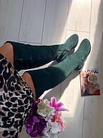 Сапоги-ботфорты замшевые темно-зеленые, фото 1