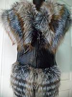 Жилет из чернобурки+лиса+кожа под пояс длина-70см 46р 48р