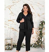 Женский костюм-тройка,украшенный пайетками №149Б-черный, фото 1