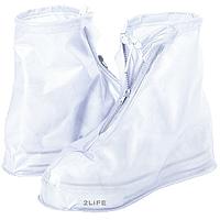 Бахилы для обуви от дождя снега грязи 2Life XL многоразовые с молнией и шнурком-утяжкой Белые (nr1-392), фото 1