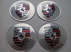 Наклейка выпуклая на колпачок диска Porsche серая 65 мм